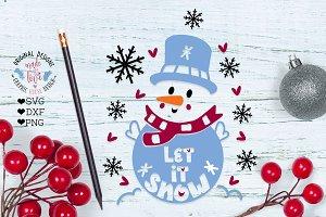 Cute Snowman Let it Snow Christmas