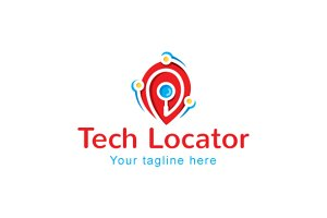 Tech Locator Logo Template Design