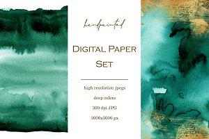 12 Gold & Emerald watercolor papers