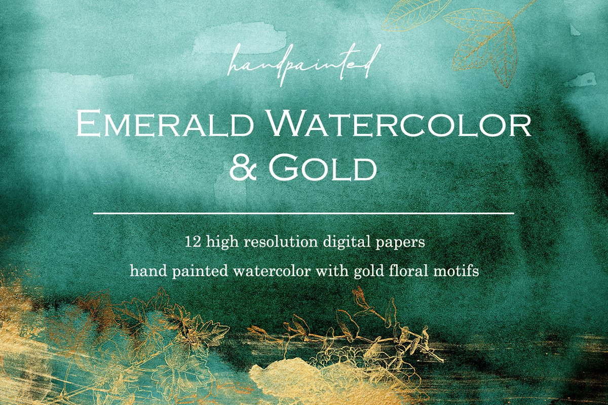 12 Gold Emerald Watercolor Papers Graphic Patterns