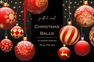 Red & gold Christmas baubles clipart