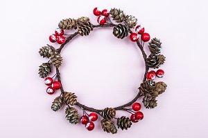 Decorative Christmas wreath of berri