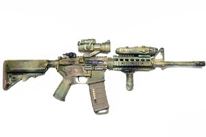 Camo painted carbine isolated