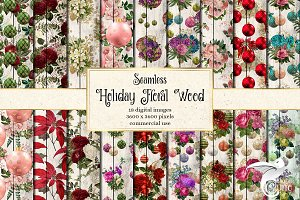 Holiday Floral Wood Digital Paper