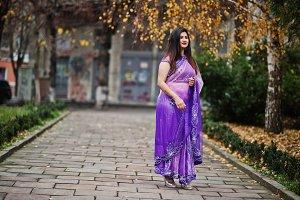 Indian hindu girl at traditional vio