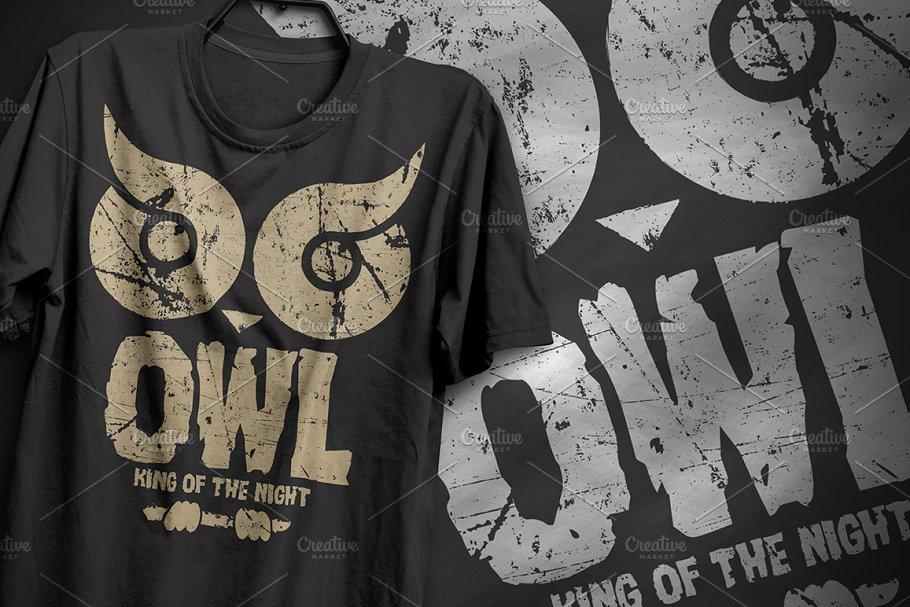 Owl king of the night T-Shirt Design