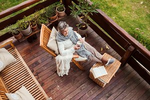 A top view of elderly woman with a