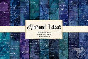 Mermaid Letters Digital Paper