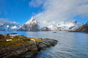 Norwegian fjord and mountains in