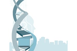 Knowledge and identity concept. DNA