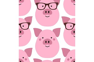 Cute Hipster Pigs seamless pattern