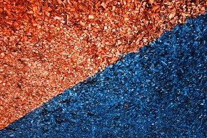 Diagonal orange and navy blue sawdus