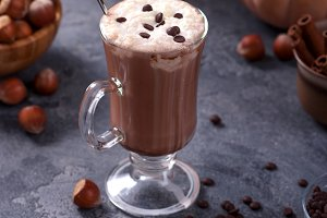 Hot chocolate drink with pumpkin