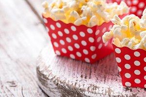 Popcorn in red polka dot pack