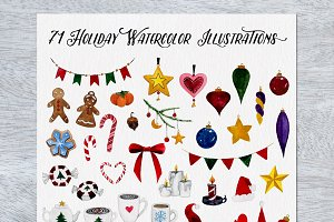 71 Holiday Watercolor Illustrations