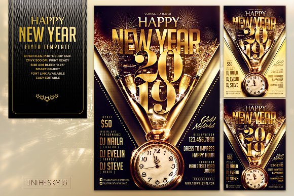 happy new year flyer template flyers
