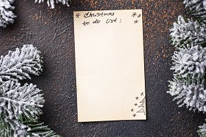 Christmas to do list. Top view.