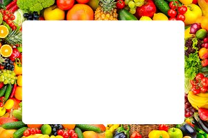 Frame of fresh fruits and vegetables