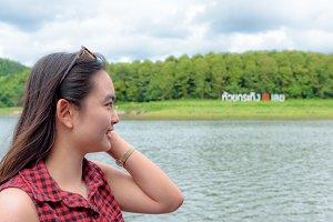 Woman tourist at Huai Krathing Reser
