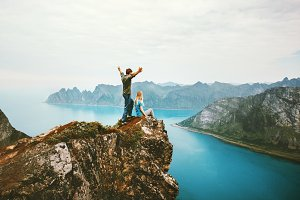 Travel couple enjoying view together