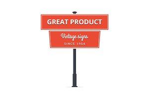 Vintage vector road sign