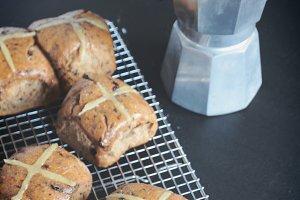 Baking hot cross buns for Easter
