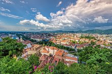 Panorama view to the city of graz