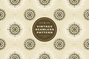 Seamless vintage compass pattern