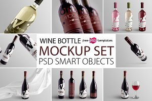 Wine Bottle Mockup Set