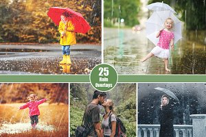 25 Rain Overlays - Falling Raindrops