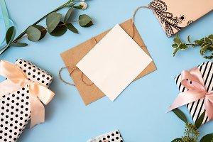 Flowers leaves, gift box, craft enve