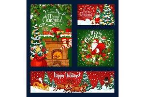 Christmas chimney, Santa and gifts