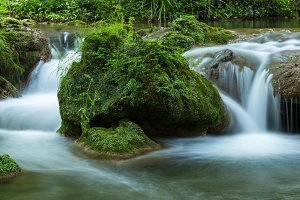 Small cascades with water flowing in