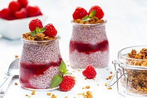 Raspberry chia pudding with granola