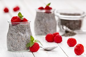 Delicious pudding with chia and rasp