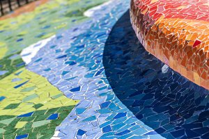 Colorful background of mosaic pieces