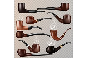 Tobacco pipe vector vintage nicotine
