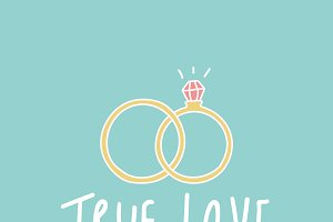 love typography wedding rings vector