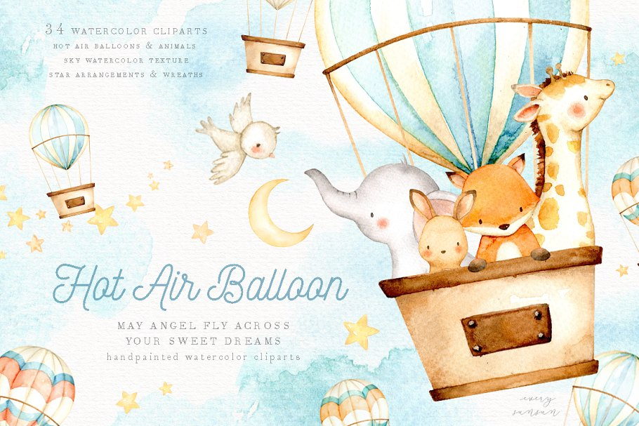 Hot Air Balloon Watercolor Clipart