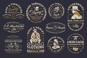10 Vintage industrial Badges/Logos