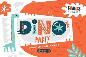 Dino party. Graphic set