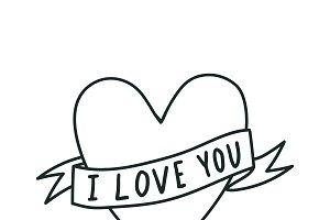 I love you heart vector