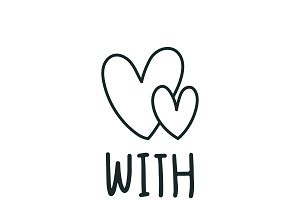 With you and two hearts vector