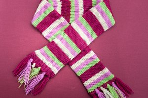 Knitted multicolored scarf