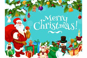 Santa with Christmas gift bag