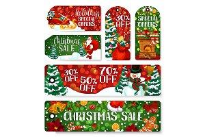 Christmas sale shop vector tags