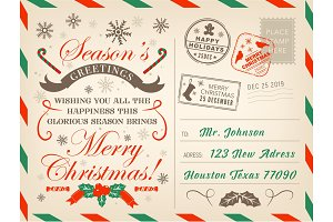Christmas holiday postcard