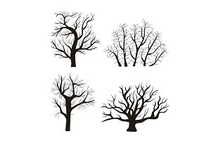 Cartoon Silhouette Tree Set. Vector