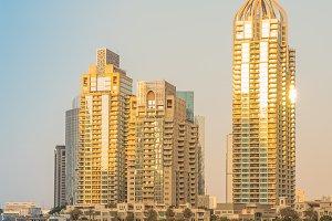 Dubai Marina at sunset.
