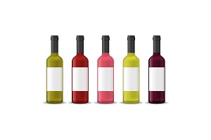 Realistic Detailed 3d Wine Bottles